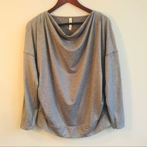 Lucy Drape Front Long Sleeve Top In Gray